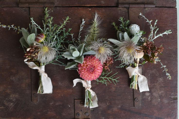 April Wedding, Buttonholes, Boutonniere, grey, peach, pink, silk ribbon, clematis seed head, artemisia