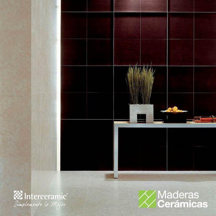 Las #maderas #cerámicas pueden ser de tonalidades claras u oscuras y pueden ser colocadas tanto en #piso como en #pared. Línea Forest de #Interceramic, recubrimiento color wengue esmaltado.