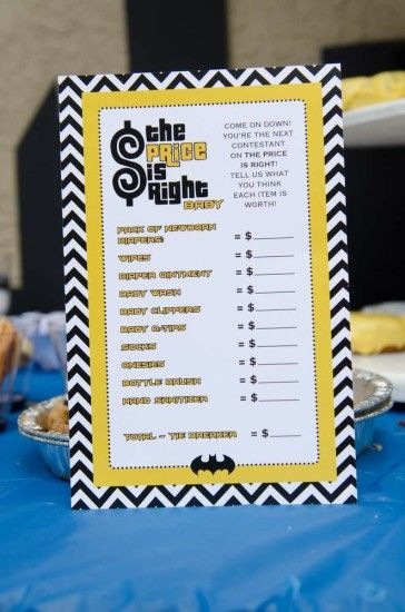 batman baby shower game, price is right