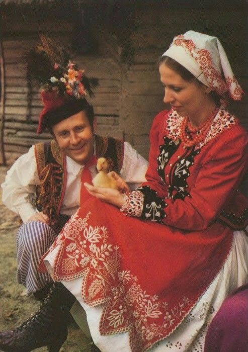 Folk costume from Kraków (around Zalipie village), East Poland. Vintage postcard. #Slavs #slavicculture #Poland