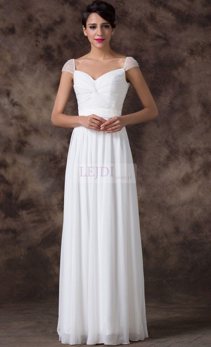 Suknia ślubna z koralikami i cyrkoniami