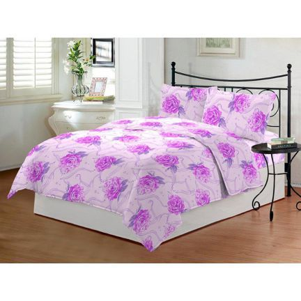 Bombay Dyeing Dew Drops Floral Purple Bed Sheet Set,Bed Sheets