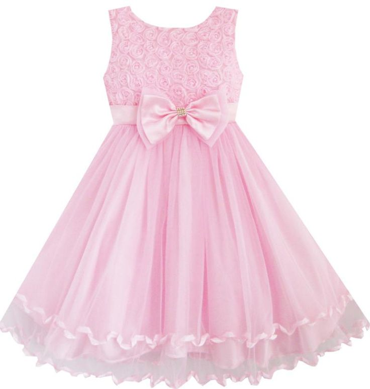 Flower Girl Dress Pink Rose Bow Tie Belt Wedding Birthday Party Kids Clothes 2016 Summer Princess Dresses Size 2-10 Pageant