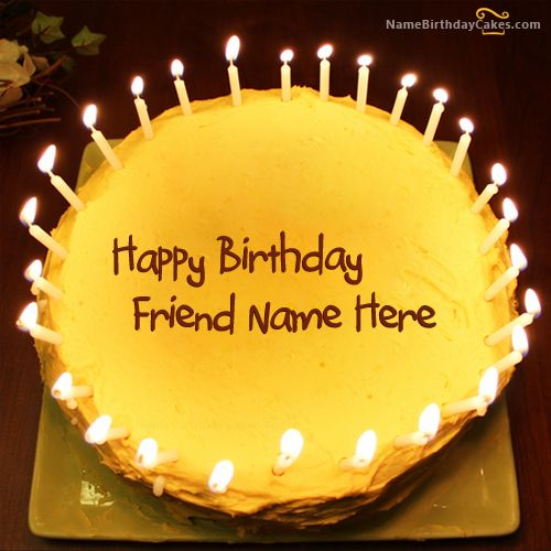 Write name on Candles Birthday Cake For Friends Happy Birthday