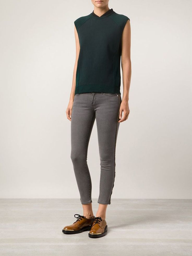 FRAME DENIM Le Skinny Zippered Outseam Sexy Jeans Pants Thatcher Grey 25 26 $250 #FrameDenim #SlimSkinny