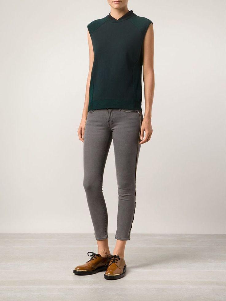 FRAME DENIM Le Skinny Zippered Outseam Sexy Jeans Pants Thatcher Grey 25 26 $250 #FrameDenim #SlimSkinny