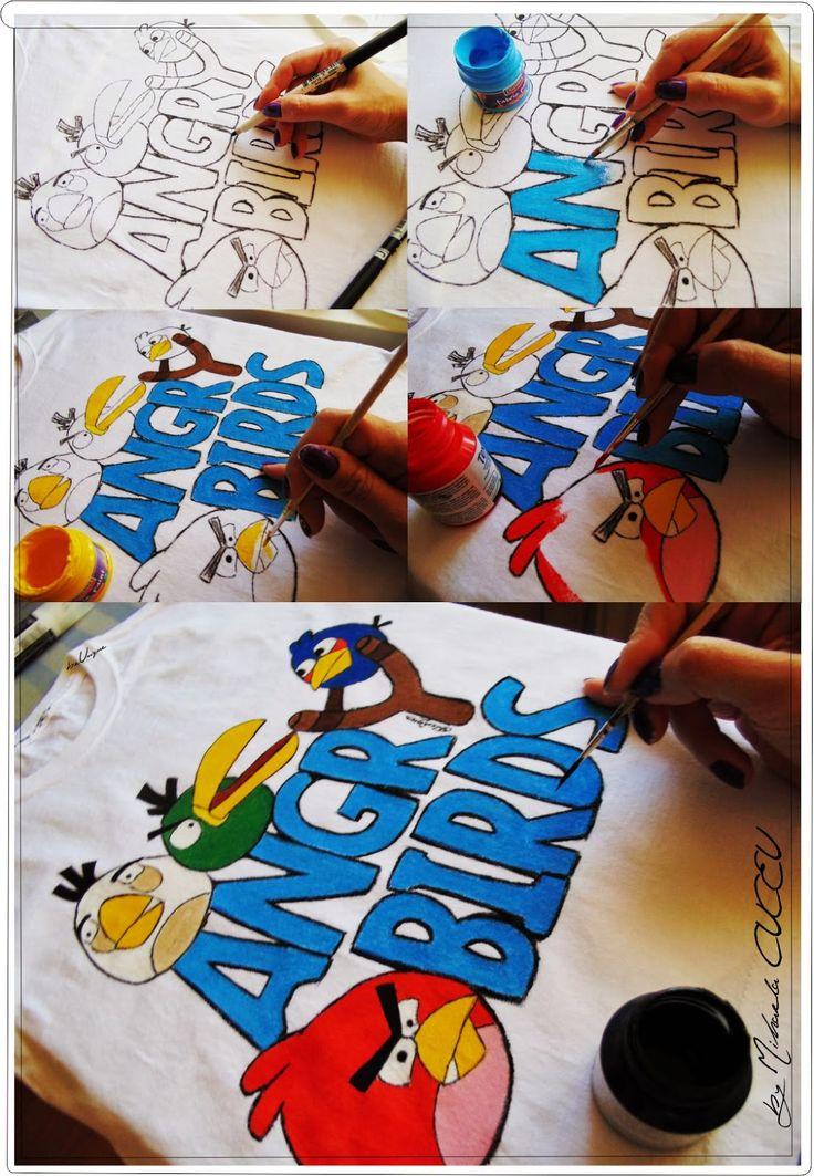 Angry Birds - pictura manuala tricou baietei!