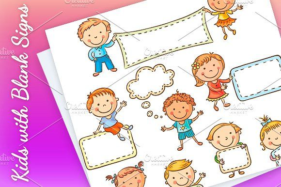 Little cartoon kids with blank signs by Optimistic Kids Art on @creativemarket