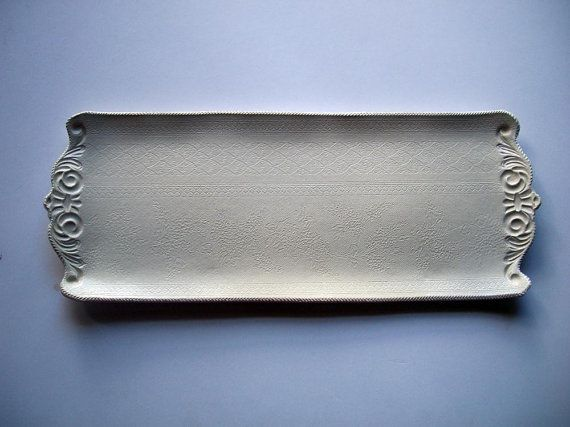 Natural Glazed Brocade Serving Tray by CatsPawPottery on Etsy, $23.00