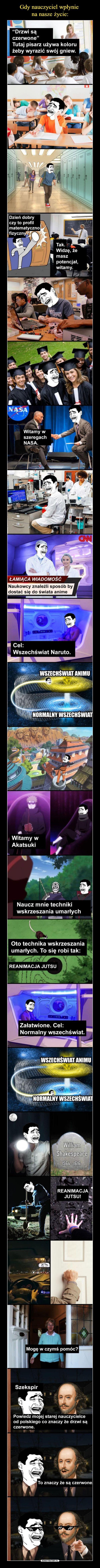 – Drzwi są czerwone Tutaj pisarz używa koloru czerwonego aby wyrazić swój gniew. Dzień dobry czy to profil matematyczno fizyczny? Tak, widzę, że masz potencjał, witamy. Witamy w szeregach Nasa. Łamiąca wiadomość Naukowcy znaleźli sposób, żeby się dostać do świata anime. Cel: wszechświat Naruto. Wszechświat animu; normalny wszechświat Witamy w Akatsuki Naucz mnie techniki wskrzeszenia umarłych. Oto technika wskrzeszania umarłych. To się robi tak: Reanimacja jutsu. Załatwione, cel normalny…