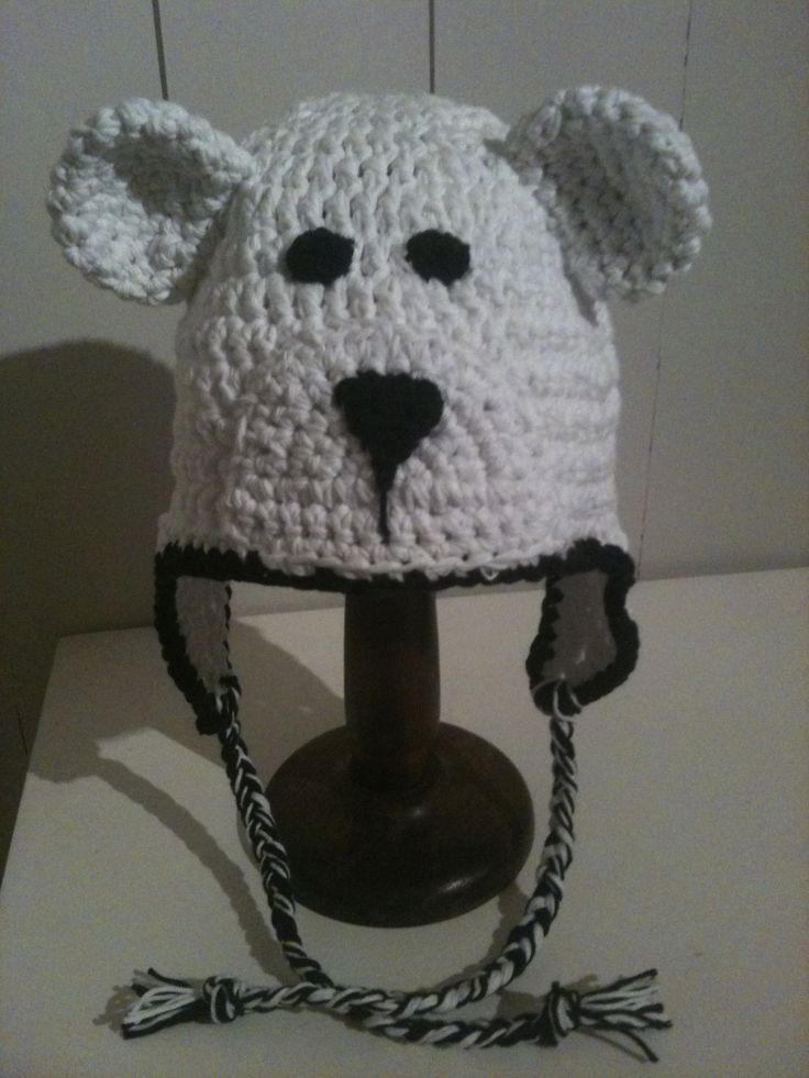 Bear crochet hat.