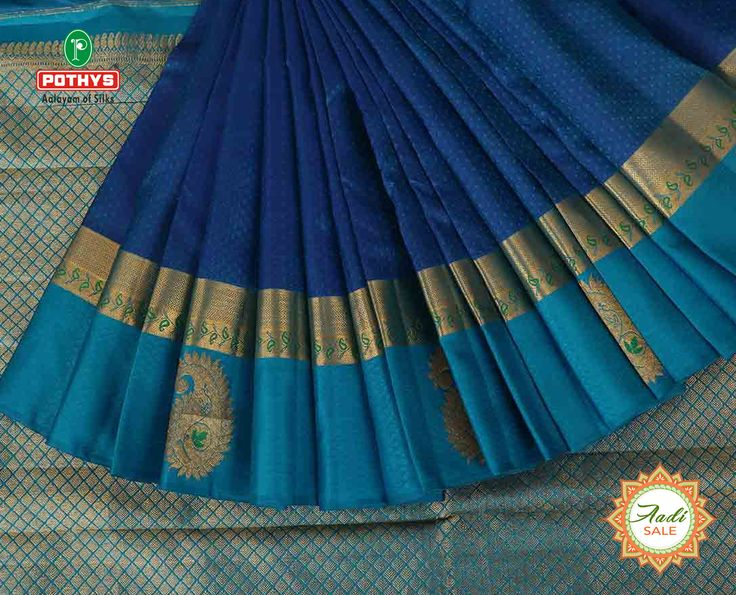 The art of weaving reflects in this Blue coloured Parampara Pattu(silk) saree with dotted designs on the body, with wide zari border and check on the pallu.  Visit www.pothys.com for more collections