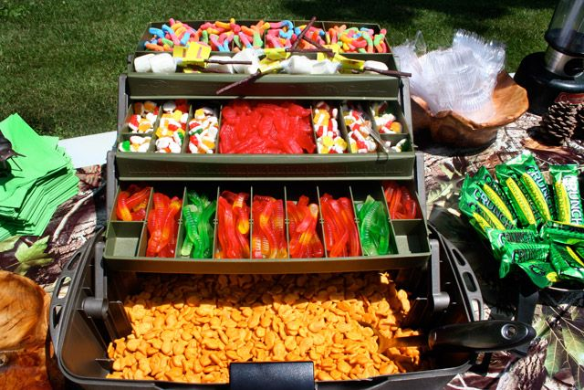Awesome Idea for a camping/fishing/scouting party - fishing tackle box with gummies!