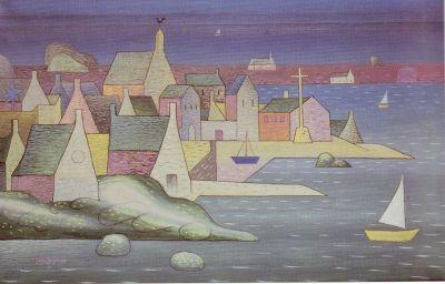 Ploumanac'h, Bretagne (painting by Jan Zrzavý)☆Přístav v Bretani (Ploumana'ch) - Jan Zrzavý