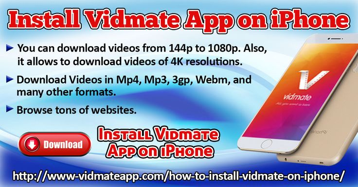 The Vidmate application was designed for android mobile but with the passage of time this app is accessible almost any kind of device whether it is mobile or PC.   Website: http://www-vidmateapp.com/how-to-install-vidmate-on-iphone/