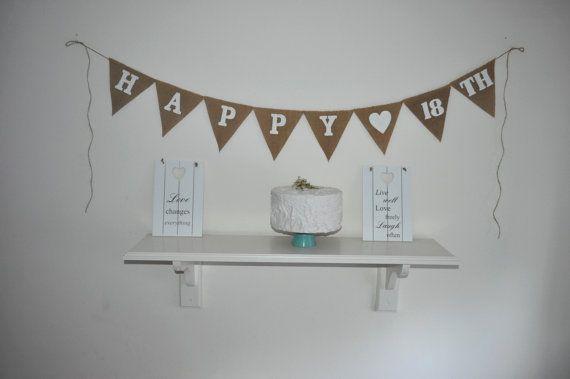 Happy 18 th Hessian Burlap Banner Bunting by inspiredcompany4u