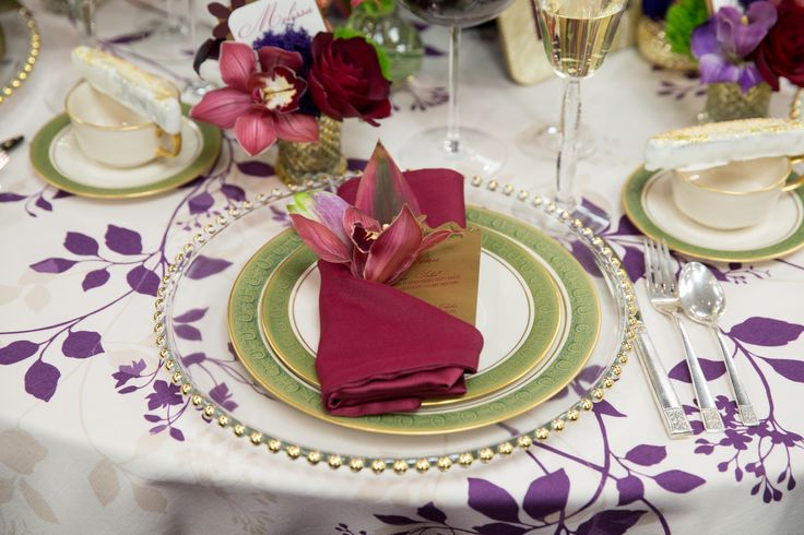 Love these colors together! The flora table linens in Plum look perfect for a bridal shower any type of Vineyard or garden party.