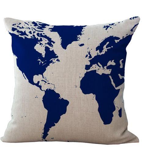 P0044 - Pillow Studio Inc. rustic world map pillow. Navy.