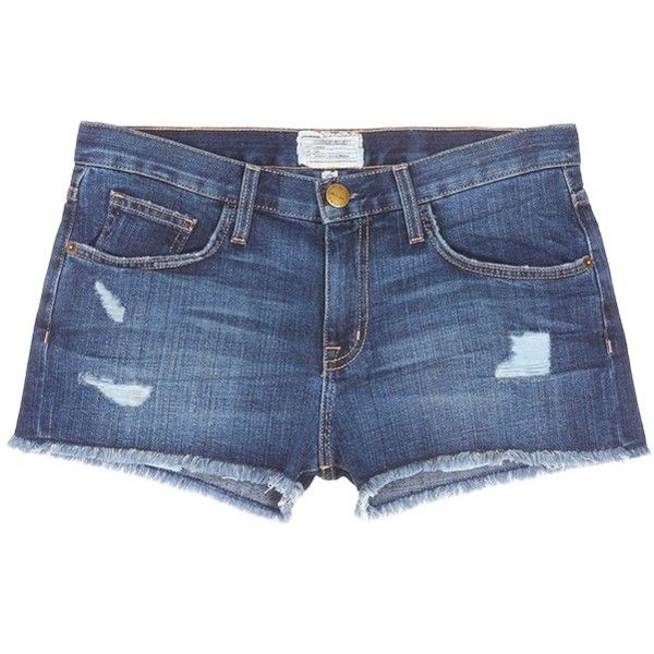 current/elliott 'The Boyfriend™' distressed rip frayed shorts (£120) ❤ liked on Polyvore featuring shorts, bottoms, blue, long shorts, distressed shorts, denim shorts, blue shorts and ripped shorts
