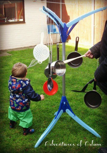 "Make some noise!  An ""Outdoor Musical Tree"" idea that's easy to set up and children will have a blast!  Thanks Emma from Adventures of Adam for the idea!  :)"