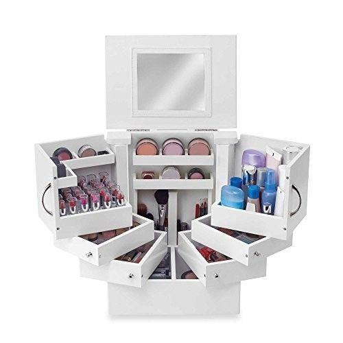Cosmetic Makeup Organizer Countertop Case with Drawers Mirror Tower Deluxe #Unbranded