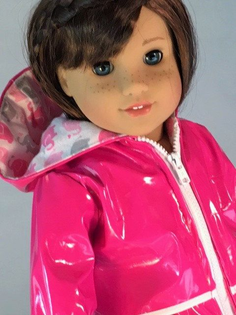 Hot Pink raincoat for your 18 inch dolls like by SewDolledUp81