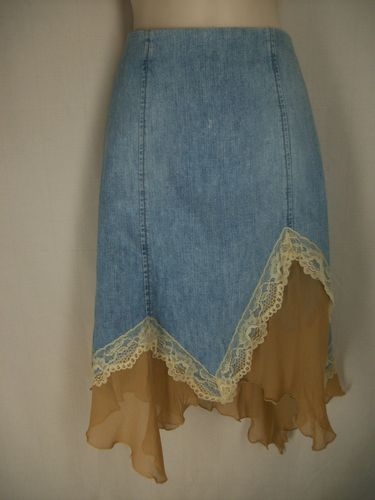 bebe S Skirt Denim Hankerchief Hem Lace Trim