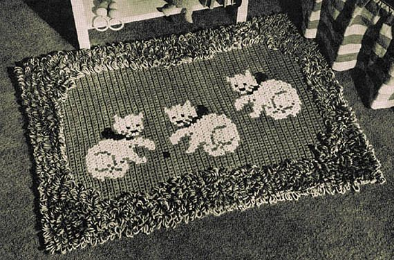 PDF Vintage Cat Baby Blanket Crochet Pattern Kitty Kat Kitten