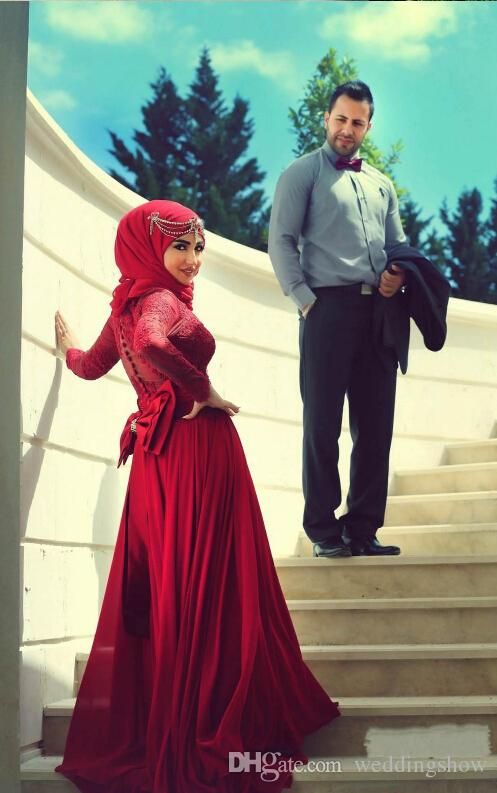Burgundy Red Lace Long Sleeve Wedding Dresses 2015 High Neck A Line Chiffon Bridal Gowns Bow Vestido De Noiva Custom Nigerian Muslim from Weddingshow,$116.6 | DHgate.com