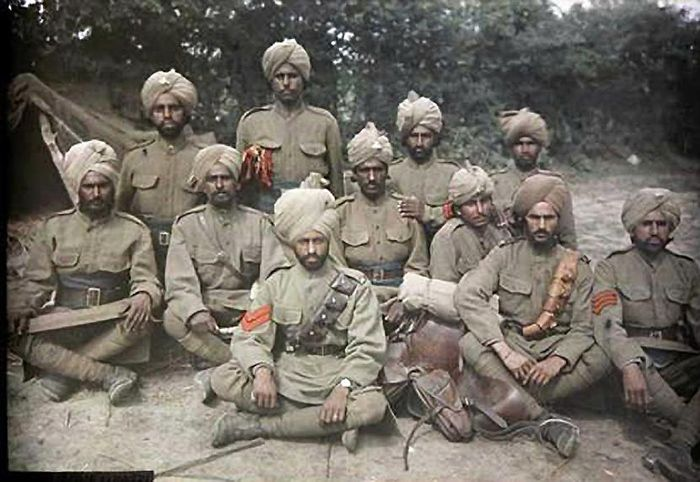 Sikh soldiers on the Western Front 1916.  Indian troops saw service in almost every campaign of WW1. From the mud of the Western front to the heat and sand of the Middle East. Indian units suffered over 140,000 casualties including 74,000 killed.
