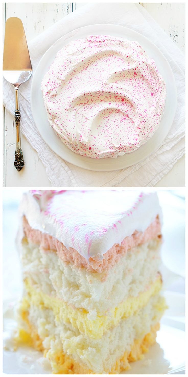 What a gorgeous Spring cake from @iambaker ! Raspberry, lemon and orange cheesecake are nestled between two layers of moist white cake and covered in be-speckled whipped cream. Yum!