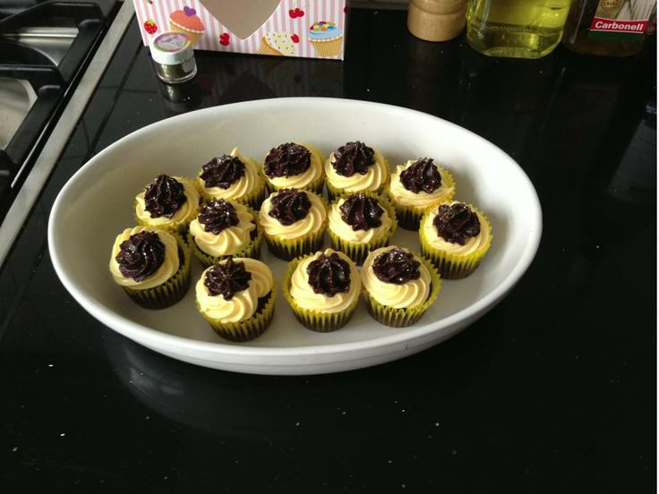 Chocolade, vanille cupcakes