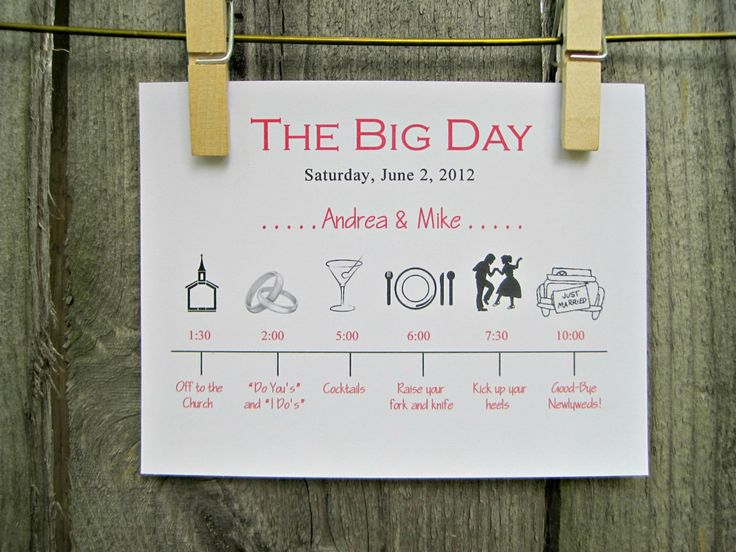 Wedding Day Timeline 2pm Ceremony: Wedding Day Timeline Schedule Of Events Invitation Card