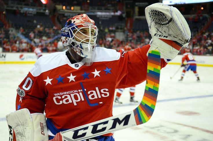 WASHINGTON, DC - FEBRUARY 24: Braden Holtby #70 of the Washington Capitals displays rainbow stick tape for 'Hockey is for Everyone Night' before the game against the Edmonton Oilers at Verizon Center on February 24, 2017 in Washington, DC. (Photo by Greg Fiume/NHLI via Getty Images)