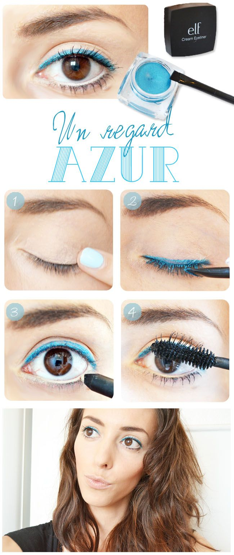 "Tuto make-up ""Regard azur"" http://lejoliblog.com/2014/05/04/tuto-eyeliner-creme-elf/"
