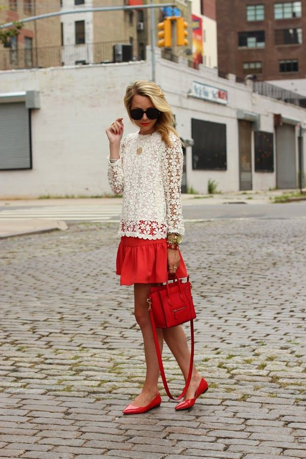 Street Flirt! Lace Shirt Red A-Line Skirt Red Skimmers Red Carry-All Purse Gold Jewellery Big Sunglasses Summer Trends 2014 stylecab.com
