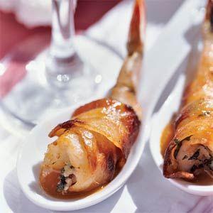 Bacon-wrapped Shrimp with Basil-Garlic Stuffing Recipe