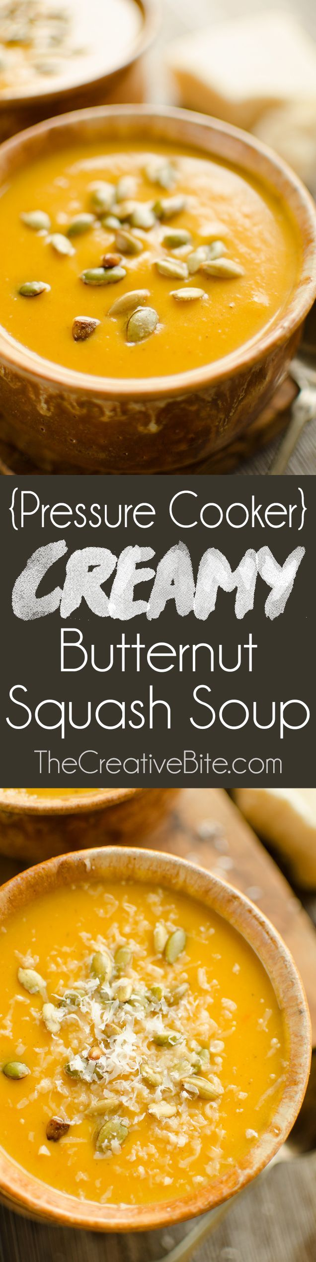 Pressure Cooker Creamy Butternut Squash Soup is a healthy and hearty recipe made in your Instant Pot for a quick and easy 20 minute dinner idea. #InstantPot #Soup