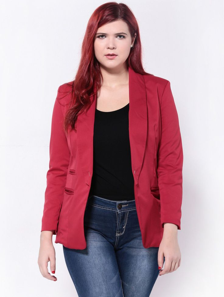 Double Pockets Slimming Blazer - RED 2XL