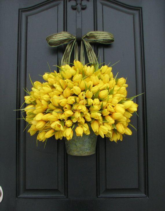 Tulips - Yellow Tulips - Metal Wall Pocket - Shabby Chic Decor - Galvanized Bucket - Country Decor - Rustic Tin Wall Pocket
