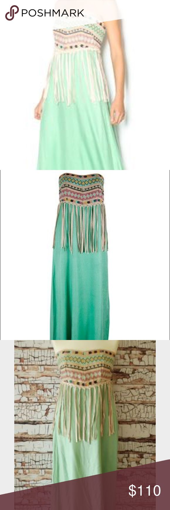 Judith March Mint To Be Fringe Dress Gorgeous long Judith March Maxi dress with Aztec pattern at top and leather fringe 👗 NWT 👗 Perfect dress for any occasion 👗 Size Large 👗 Smoke-free home 👗  Fast shipping Judith March Dresses Maxi