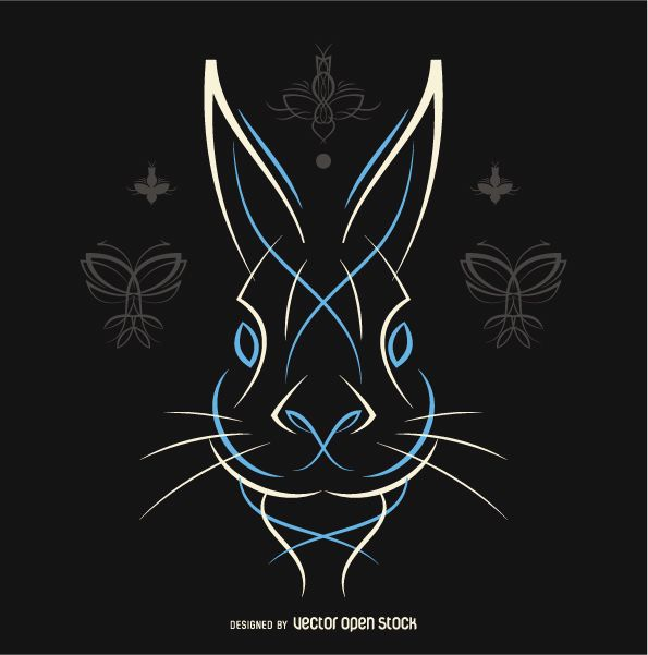 Pinstripe rabbit vector in white and blue - Free Vector