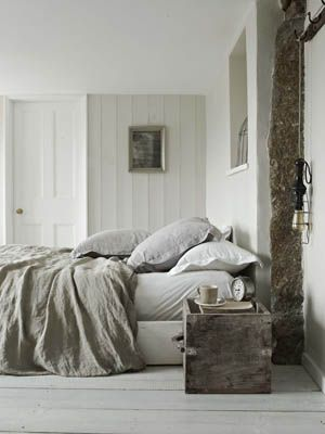 bedroom - gray and white bedding
