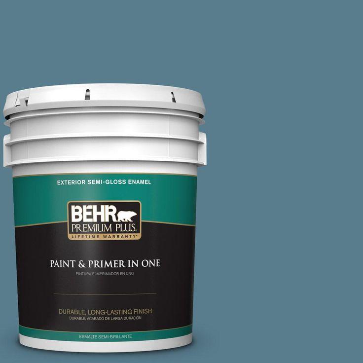 BEHR PREMIUM PLUS 5 gal. #hdc-FL14-11 Cotton Denim Semi-Gloss Enamel Exterior Paint