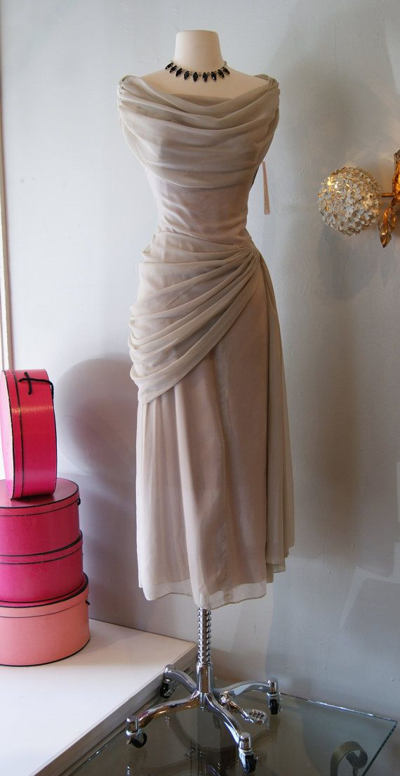 40s Dress // Vintage 1940's Peggy Hunt Grey Goddess Dress on Etsy, $198.00