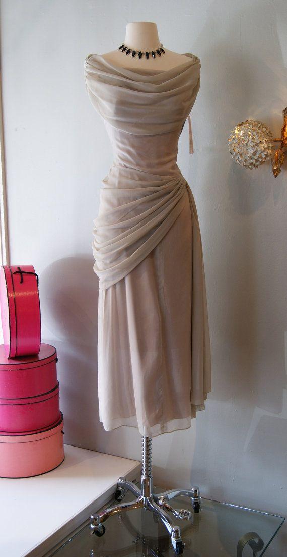 40s Dress // Vintage 1940's Peggy Hunt Grey Goddess Dress on Etsy, $198.00