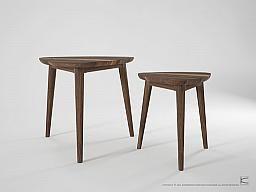Vintage Tripod Nesting Tables Walnut (set of 2) : Ambassador Home
