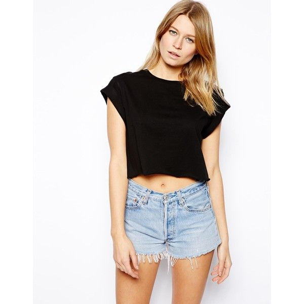 ASOS Cropped Boyfriend T-shirt with Roll Sleeve ($12) ❤ liked on Polyvore featuring tops, t-shirts, black, black crop tee, black crew neck t shirt, black t shirt, boyfriend t shirt and crop top