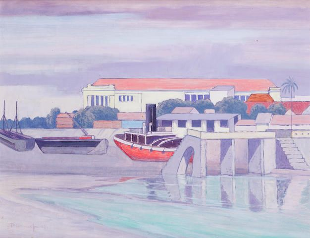 (n/a) Jacob Hendrik Pierneef (South African, 1886-1957) Port in the Seychelles