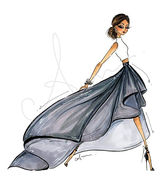 Fashion Illustration Print Gray Ballskirt by anumt on Etsy